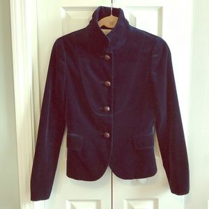 J. Crew riviera blue Bella jacket 2 xs coat velvet